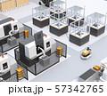 AGV無人搬送車、マシニングセンタ、ロボットセルトユニットがあるスマート工場のコンセプトイメージ 57342765