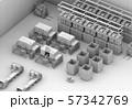双腕ロボット、AGV無人搬送車、マシニングセンタがあるスマート工場のクレイレンダリングイメージ 57342769