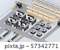 双腕ロボット、AGV無人搬送車、マシニングセンタがあるスマート工場のアイソメイメージ 57342771