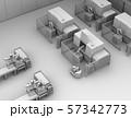 双腕ロボット、AGV無人搬送車、マシニングセンタ、があるスマート工場のクレイレンダリングイメージ 57342773
