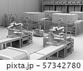 双腕ロボット、AGV無人搬送車、マシニングセンタがあるスマート工場のクレイレンダリングイメージ 57342780