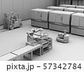 双腕ロボット、AGV無人搬送車、マシニングセンタがあるスマート工場のクレイレンダリングイメージ 57342784