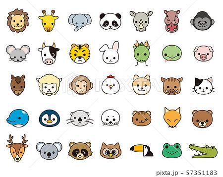 かわいい動物の顔 アイコンセット 57351183