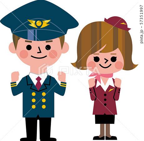 ガッツポーズするパイロットとCA 57351997