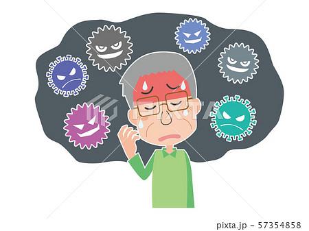 ウイルス 風邪 インフルエンザ 体長不良 熱 高齢男性 57354858