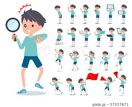 flat type blue clothing boy_Action 57357671