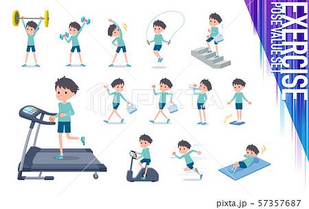 flat type blue clothing boy_exercise 57357687