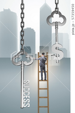 Businessman in key to financial success concept 57359450