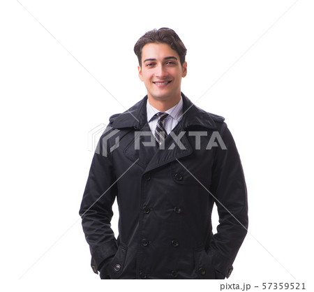 Young businessman wearing winter coat isolated on white 57359521