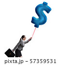 Businesswoman flying on dollar sign inflatable balloon 57359531