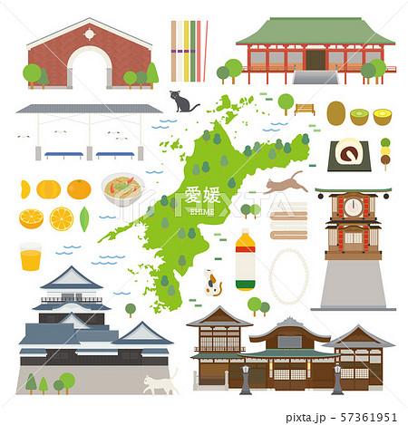 愛媛県 名産品 観光 イラストセット 57361951