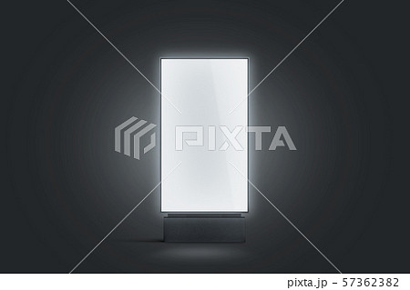 Blank white glowing pylon mockup, isolated in darkness 57362382