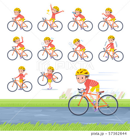 flat type Red clothing short hair boy_road bike 57362644
