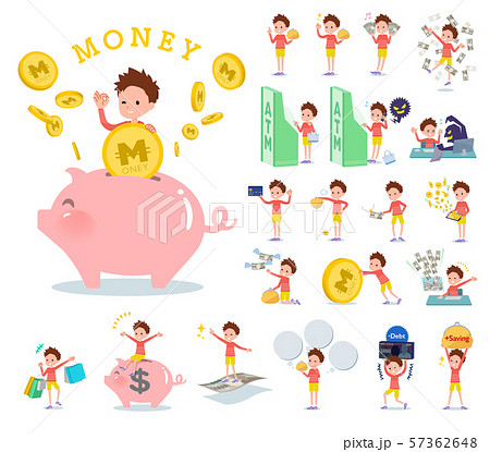 flat type Red clothing short hair boy_money 57362648