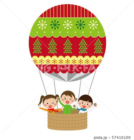 ポップなクリスマスの気球に乗った子供たち 57410100