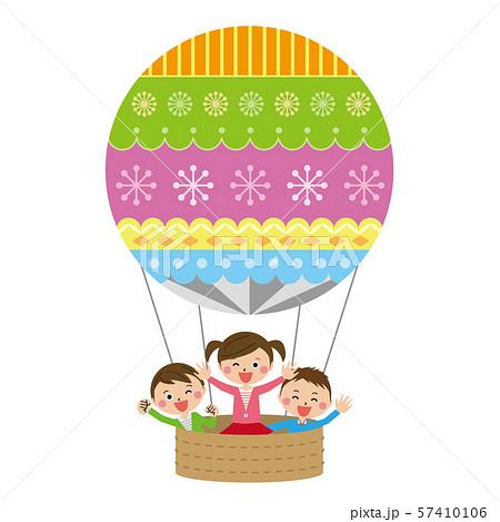 ポップな気球に乗った子供たち 57410106