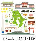 鹿児島県 名産品 観光 イラストセット 57434389