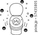 トイレの便座 フタ開きで流す マナー違反 57435805