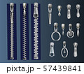 Zipper fasteners and pullers realistic s set 57439841