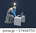 Sculpture Thinker With Laptop And Glowing Light Bulb Over His Head As Symbol Of New Idea. Blue Background 57444755