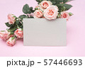 empty pink paper sheet and buds of pink roses, festive background, copy space 57446693