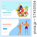 Beach Party People with Cocktails Rest by Coast 57450504