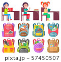 Girl and Boy Studying, Backpack Sticker Vector 57450507