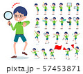 flat type Green clothing glasses boy_Action 57453871