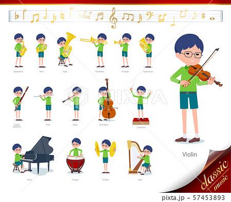 flat type Green clothing glasses boy_classic music 57453893