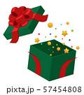 開いたクリスマスプレゼントの箱イラスト_飛び出す星 57454808