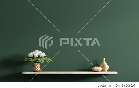 Shelf with bouquet of white roses in copper vase 57455514