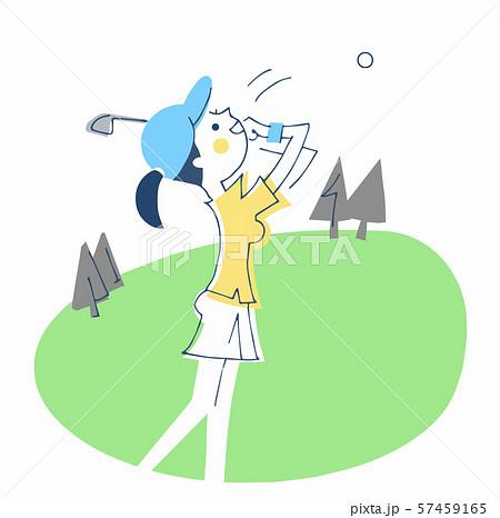 ゴルフをする女性 57459165