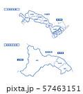 川崎市+相模原市地図 シンプル白地図 市区町村 57463151