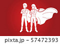 Boy and girl playing super heroes action cartoon graphic vector. 57472393