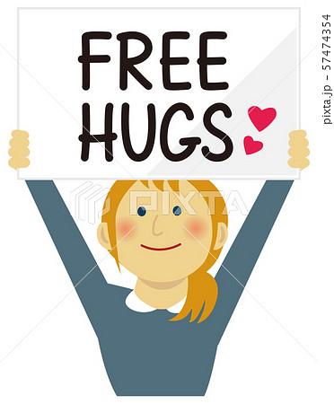 FREE HUGS (フリーハグ) / ボードを掲げた若い女性イラスト(上半身) 57474354