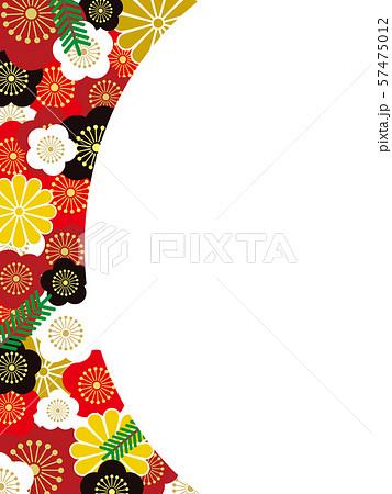 オシャレな梅の和柄模様メッセージカード 57475012