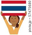 人種と国旗 / 国旗を掲げた若い女性 上半身イラスト/ タイ 57475680