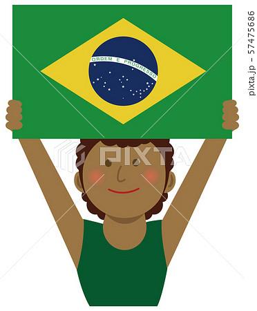 人種と国旗 / 国旗を掲げた若い女性 上半身イラスト/ ブラジル 57475686