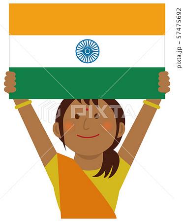 人種と国旗 / 国旗を掲げた若い女性 上半身イラスト/ インド 57475692