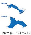 川崎市+相模原市地図 シンプル青 市区町村 57475749