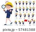 flat type primary school boy_Action 57481388