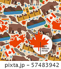 Canadian symbols and main landmarks, vector illustration. Seamless pattern with flat style icons of 57483942