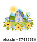 Rustic gray house with a blue roof. Vector illustration. 57489630