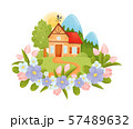 Village house with a red roof. Vector illustration. 57489632