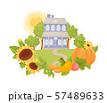 Two-story blue house with a gray roof. Vector illustration. 57489633