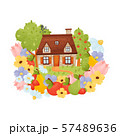Country house with a brown roof. Vector illustration on a white background. 57489636