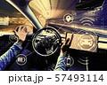 Person using a car in autopilot mode 57493114