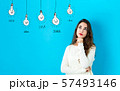 Idea light bulbs with young woman 57493146
