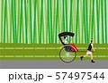 竹林と人力車。ベクター素材。 57497544