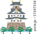 日本の城と松。ベクター素材。 57497548